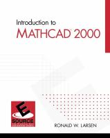 Cover image for Introduction to Mathcad 2000