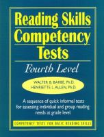Cover image for Reading Skills Competency Tests : competency tests for basic reading skills
