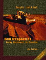 Cover image for Soil properties : testing, measurement, and evaluation