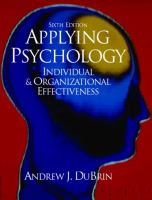 Cover image for Applying psychology : individual and organizational effectiveness