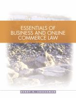 Cover image for Essentials of business and online commerce law : legal, e-commerce, ethical, and global environments