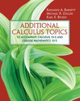 Cover image for Additional calculus topics :  to accompany calculus, 10/e and college mathematics, 10/e