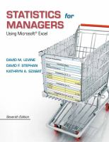 Cover image for Statistics for managers using Microsoft Excel