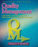 Cover image for Quality management : creating and sustaining organizational effectiveness