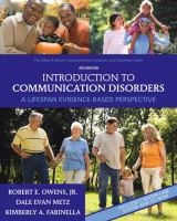 Cover image for Introduction to communication disorders : a lifespan evidence-based perspective
