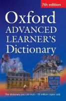 Cover image for Oxford advanced learner's dictionary of current English / A.S. Hornby ;edited by Sally Wehmeier