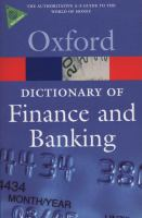 Cover image for A dictionary of finance and banking