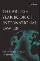 Cover image for The British year book of international law. Vol. 75, 2004