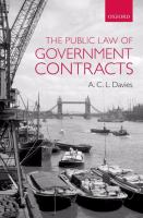 Cover image for The public law of government contracts