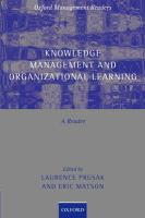 Cover image for Knowledge management and organizational learning : a reader
