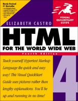 Cover image for HTML 4 for the world wide web :  visual quickstart guide