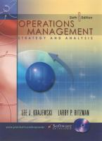 Cover image for Operations management:  strategy and analysis