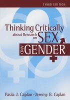 Cover image for Thinking critically about research on sex and gender