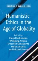 Cover image for Humanistic ethics in the age of globality