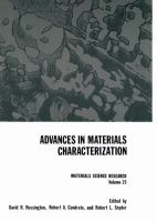 Cover image for Advances in materials characterization