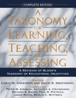 Cover image for A taxonomy for learning, teaching, and assessing : a revision of Bloom's taxonomy of educational objectives