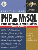 Cover image for PHP and MySQL for dynamic Web sites