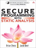 Cover image for Secure programming with static analysis