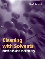Cover image for Cleaning with solvents : methods and machinery