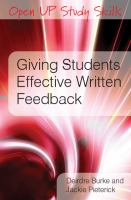 Cover image for Giving students effective written feedback