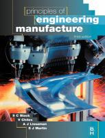 Cover image for Principles of engineering manufacture