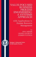 Cover image for Value-focused business process engineering : a systems approach : with applications to human resource management