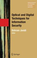 Cover image for Optical and digital techniques for information security