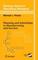 Cover image for Planning and scheduling in manufacturing and services