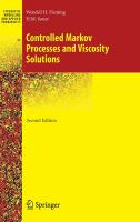 Cover image for Controlled Markov processes and viscosity solutions