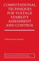 Cover image for Computational techniques for voltage stability assessment and control