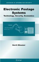 Cover image for Electronic postage systems : technology, security, economics