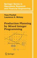 Cover image for Production planning by mixed integer programming