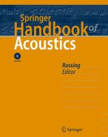 Cover image for Springer handbook of acoustics