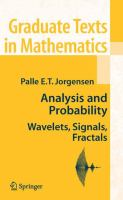 Cover image for Analysis and Probability Wavelets, Signals, Fractals