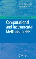 Cover image for Computational and instrumental methods in EPR