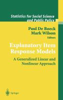 Cover image for Explanatory item response models : a generalized linear and nonlinear approach
