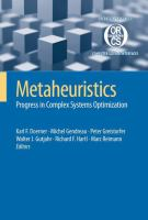 Cover image for Metaheuristics Progress in Complex Systems Optimization