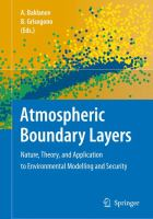 Cover image for Atmospheric boundary layers : nature, theory, and application to environmental modelling and security