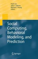 Cover image for Social computing, behavioral modeling, and prediction