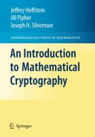 Cover image for An introduction to mathematical cryptography