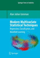 Cover image for Modern multivariate statistical techniques : regression, classification, and manifold learning