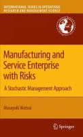 Cover image for Manufacturing and service enterprise with risks : a stochastic management approach