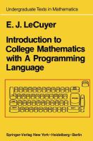 Cover image for Introduction to college mathematics with a programming language