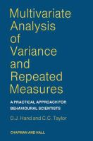 Cover image for Multivariate analysis of variance and repeated  measures : a practical approach for behavioural scientists