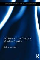 Cover image for Zionism and land tenure in mandate Palestine