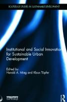 Cover image for Institutional and social innovation for sustainable urban development