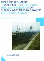 Cover image for Role of sediment transport in operation and maintenance of supply and demand based irrigation canals : application to Machai Maira branch canals