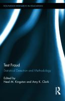 Cover image for Test fraud : statistical detection and methodology
