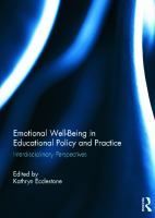 Cover image for Emotional well-being in educational policy and practice : interdisciplinary perspectives