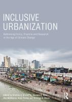 Cover image for Inclusive urbanization : rethinking policy, practice, and research in the age of climate change